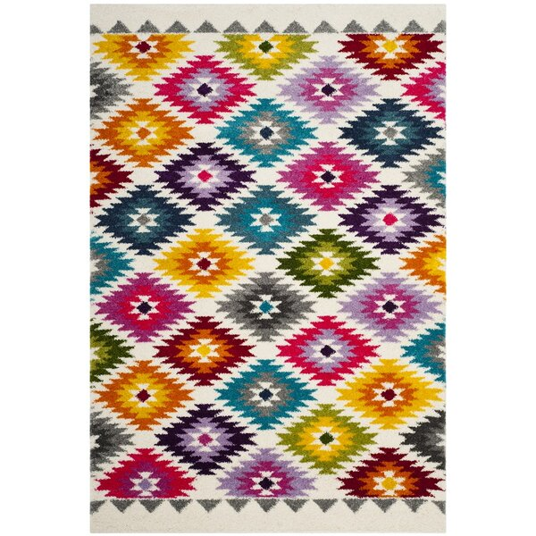 Cleveland Geometric Cream Area Rug by Ebern Designs