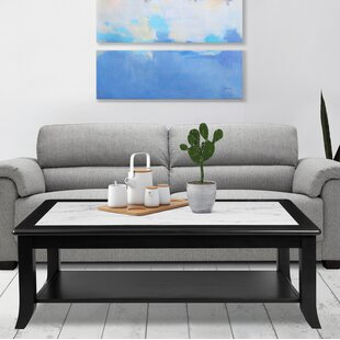 Claude Natural Marble Top Wood Coffee Table