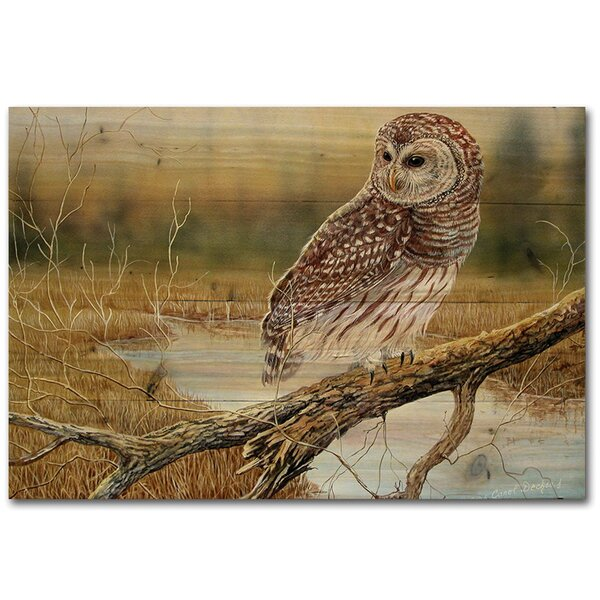 Early Hunter Owl Painting Print Plaque by WGI-GALLERY