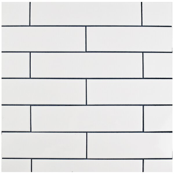 Retro 2 x 8 Porcelain Field Tile in Glossy White b