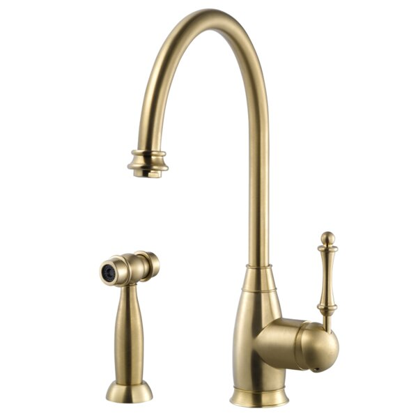 Charlotte Single Handle Kitchen Faucet with Sidespray by Houzer