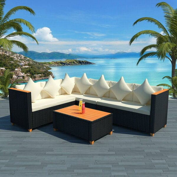 Stretford Garden 4 Piece Rattan Sectional Seating Group with Cushions by Ivy Bronx