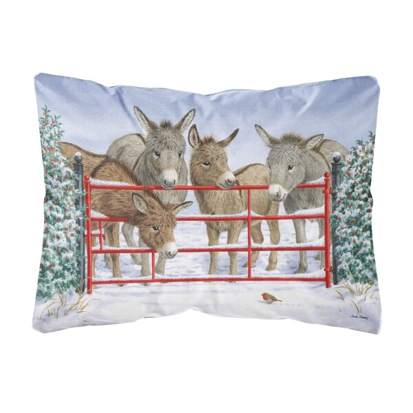 Shrum Donkeys and Robin Fabric Indoor/Outdoor Throw Pillow by Winston Porter