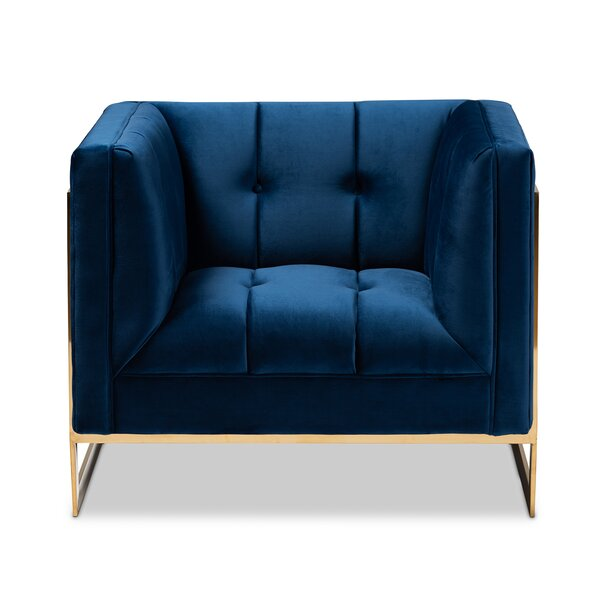 Janis Glam and Luxe Velvet Fabric Upholstered and Button Tufted Armchair by Everly Quinn