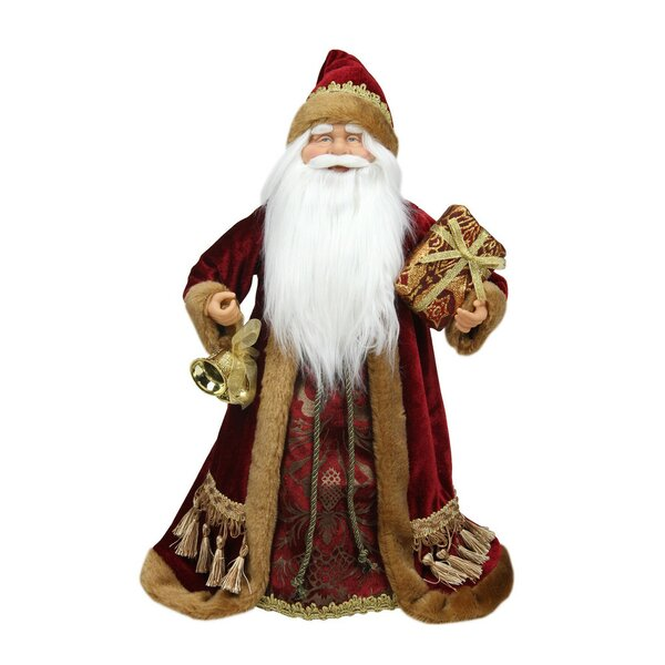 Santa Claus Holding a Gift Box Tree Topper with Unlit by Northlight Seasonal
