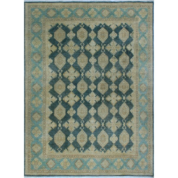 Peachey Hand-Knotted Wool Blue/Beige Area Rug by Canora Grey