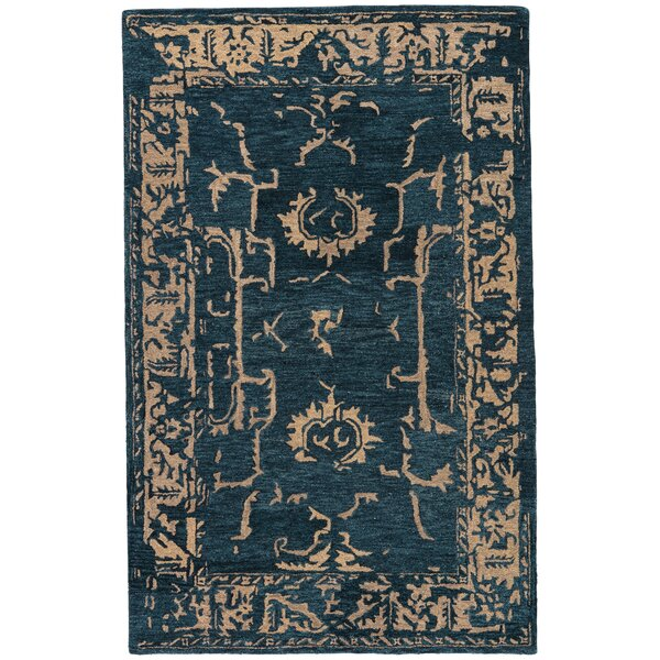 Belleville Hand-Tufted Navy/Ginger Area Rug by Gracie Oaks