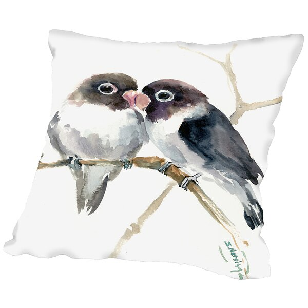 Gray Masked Lovebirds Throw Pillow by East Urban Home