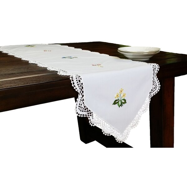 Handmade Crochet with Embroidery Flowers Table Runner by Xia Home Fashions