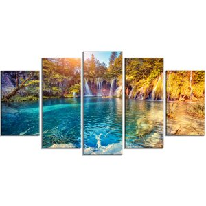 'Turquoise Water and Sunny Beams' 5 Piece Wall Art on Wrapped Canvas Set by Design Art