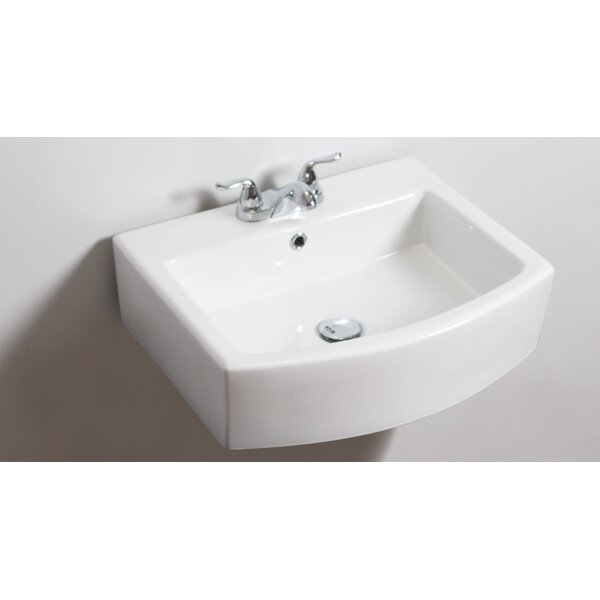Ceramic 22 Wall-Mount Bathroom Sink with Overflow