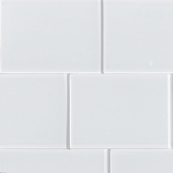 Shiny 4.75 x 7 Glass Field Tile in White by The Bella Collection