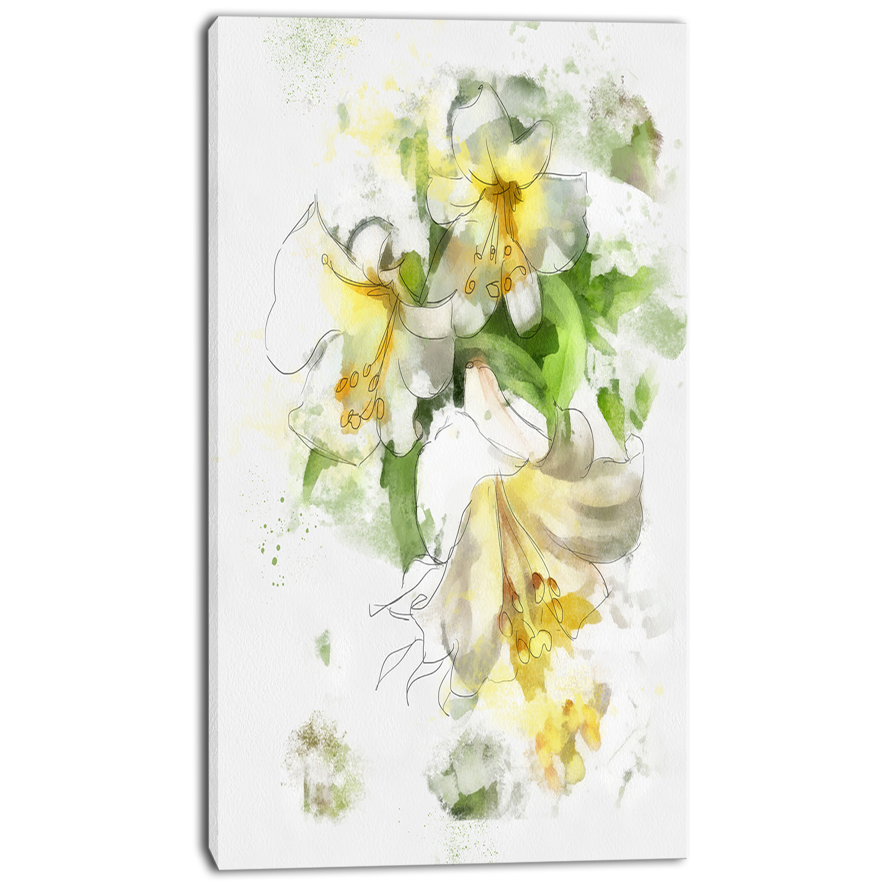 Designart Bunch Of Small Flowers Watercolor Painting Print On