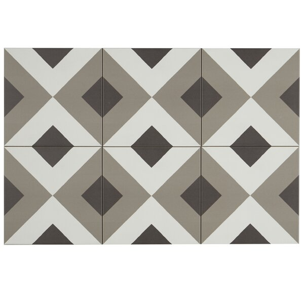 Encausto 8 x 8 Porcelain Field Tile in White/Brown by Itona Tile