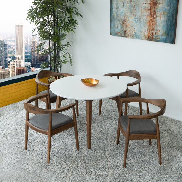 Keown Freya Fabric 5 Piece Solid Wood Dining Set by George Oliver
