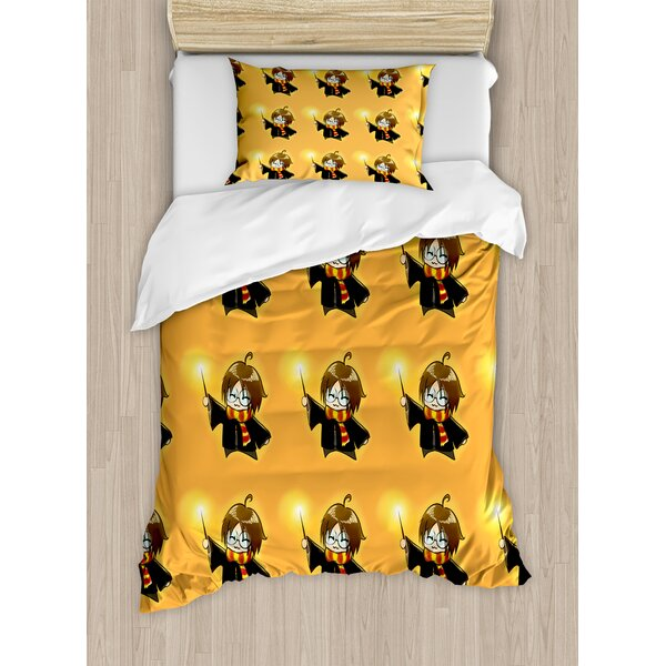 Wizard Cartoon Character with Glasses Duvet Set by Ambesonne