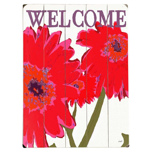 Welcome Flowers Drawing Print Multi-Piece Image on Wood by Artehouse LLC