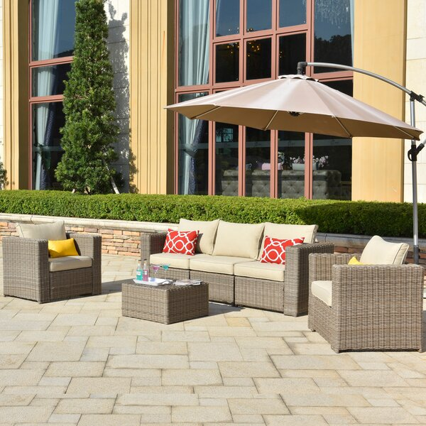 Caverna Patio 6 Piece Rattan Sectional Seating Group with Cushions by Latitude Run