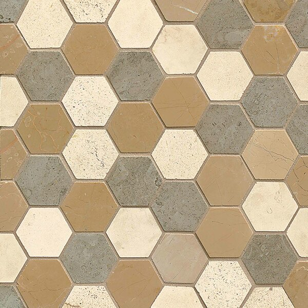 2 x 2 Limestone Mosaic Tile in Brown by Bedrosians