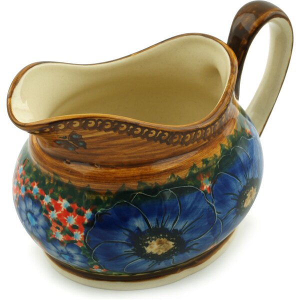 Polish Pottery Tropical Wildflowers Gravy Boat by Polmedia