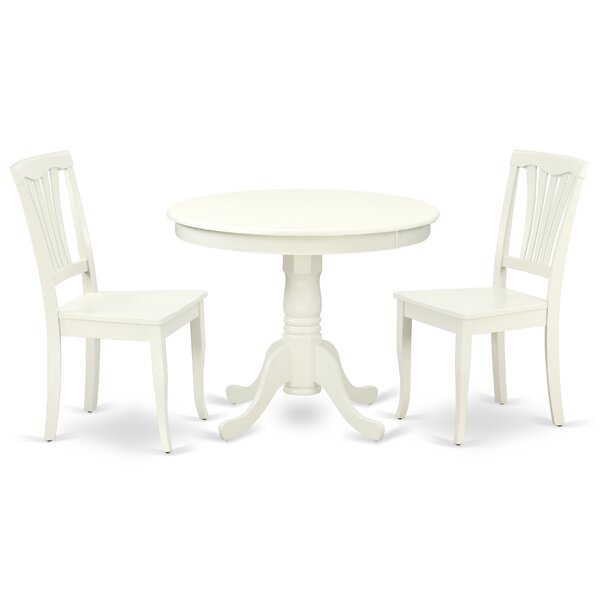 Kurland 3 Piece Solid Wood Breakfast Nook Dining Set by August Grove