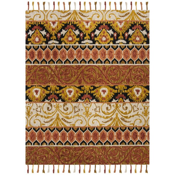 Niederanven Hand Tufted Wool Rust/Yellow/Black Area Rug by Bungalow Rose