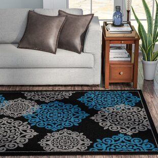 Check Prices Alanson Turquoise/Black Indoor/Outdoor Area Rug By Winston Porter