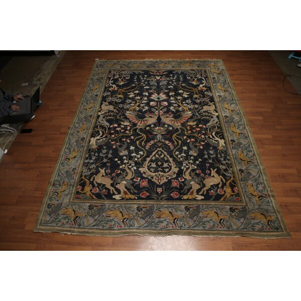 One-of-a-Kind Guilaine Hand-Knotted Wool Midnight Blue Area Rug by Astoria Grand
