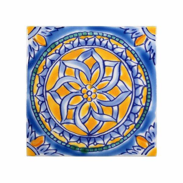 Mediterranean 4 x 4 Ceramic San Paolo Decorative Tile in Blue by Casablanca Market