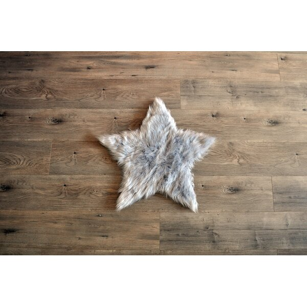 Deshazo Faux Sheepskin Gray/White Area Rug by Harriet Bee