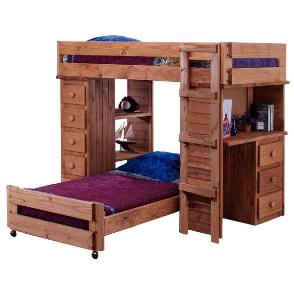 Chaves Student Twin Over Twin L-Shaped Bunk Bed with Shelves and Drawers by Harriet Bee