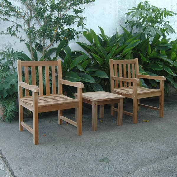 Kraker 3 Piece Teak Seating Group by Bayou Breeze Bayou Breeze