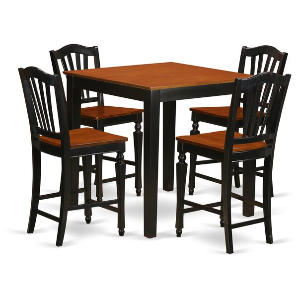 5 Piece Counter Height Pub Table Set by East West Furniture