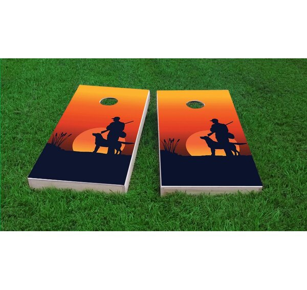 Hunter and His Dog at Dawn Cornhole Game Set by Custom Cornhole Boards