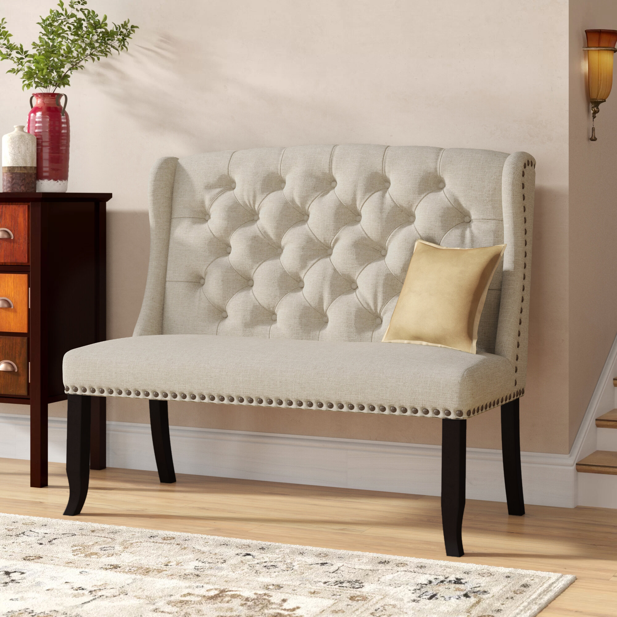Picture of: Charlton Home Teresa Upholstered Dining Bench Reviews Wayfair