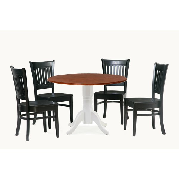 Reider 5 Piece Drop Leaf Solid Wood Dining Set by Charlton Home