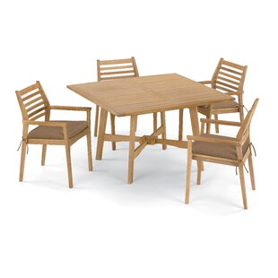 Eichhorn 5 Piece Dining Set with Cushions By Breakwater Bay