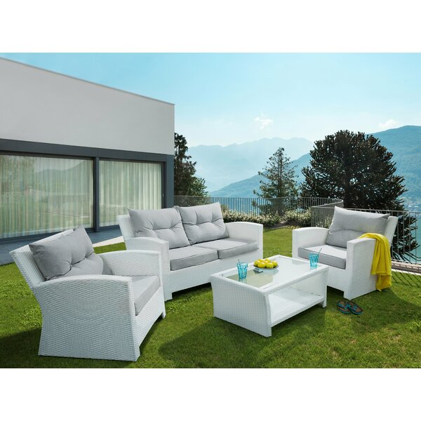 Georgetown 4 Piece Rattan Sofa Seating Group with Cushions (Set of 4) by Ivy Bronx
