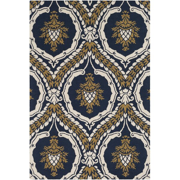 Ebersole Hand-Tufted Navy Blue/Gold Area Rug by Charlton Home