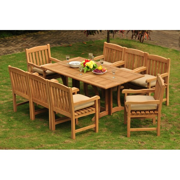 Esquina Luxurious 9 Piece Teak Dining Set by Rosecliff Heights