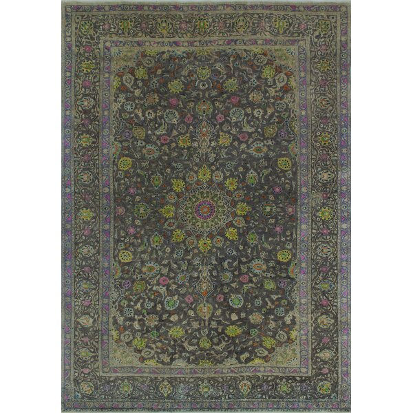 Bogardus Vintage Distressed Hand Knotted Wool Gray Area Rug by Bungalow Rose