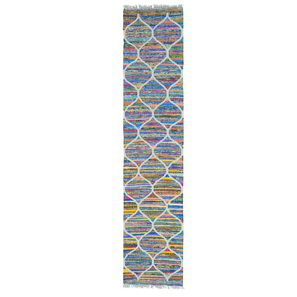 Kilim Hand-Knotted Ivory/Blue/Orange Area Rug by Bungalow Rose