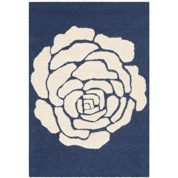 Martins Navy/Ivory Area Rug by Wrought Studio