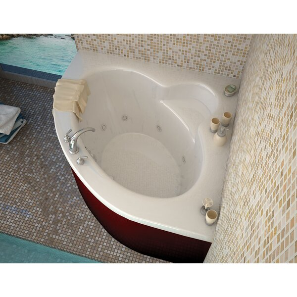 Trinidad 59.75 x 59.75 Corner Whirlpool Jetted Bathtub with Center Drain by Spa Escapes