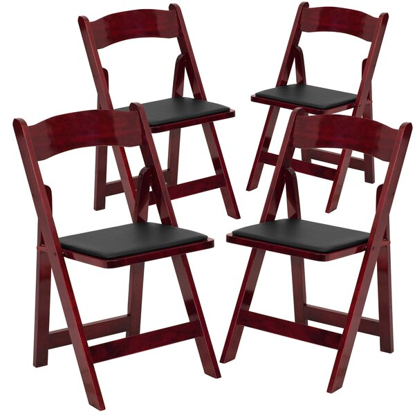 Laduke Vinyl Padded Folding Chair (Set of 4) by Symple Stuff