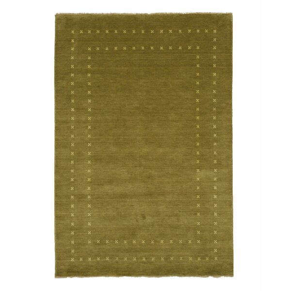 Dreher Transitional Solid Hand-Woven Wool Green Area Rug by Bloomsbury Market