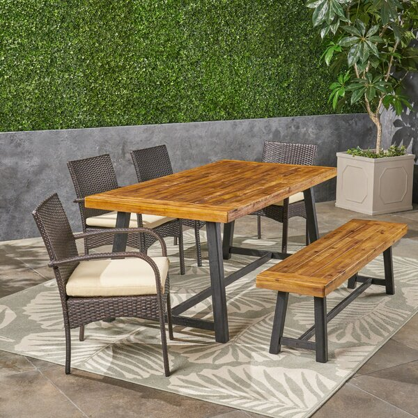 Lugenia 6 Piece Teak Dining Set with Cushions by Williston Forge