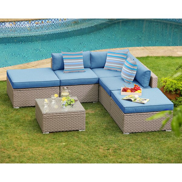 Colm Outdoor Furniture 6 Piece Rattan Sectional Seating Group with Cushions by Rosecliff Heights