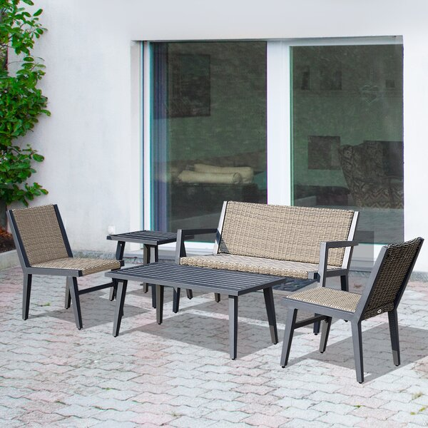 Quinton Outdoor 5 Piece Rattan Sofa Seating Group by Ebern Designs