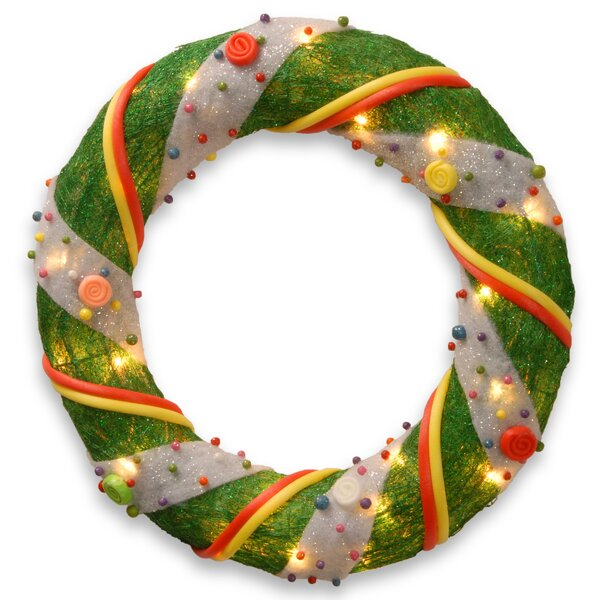 Decorative Décor Pre-Lit Tinsel Wreath with 20 Clear Lights by The Holiday Aisle